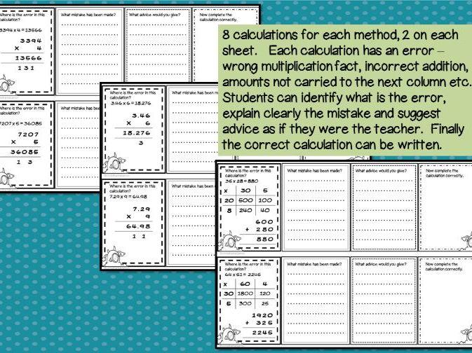Error Analysis / Spot the Mistake Task Cards for Written Multiplication Methods COMPLETE SET
