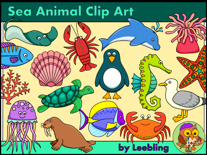 Sea Animal Clip Art - Colour and B/w Sea Creatures