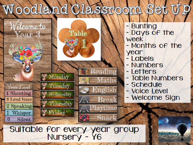 Woodland Classroom Set Up - Decor
