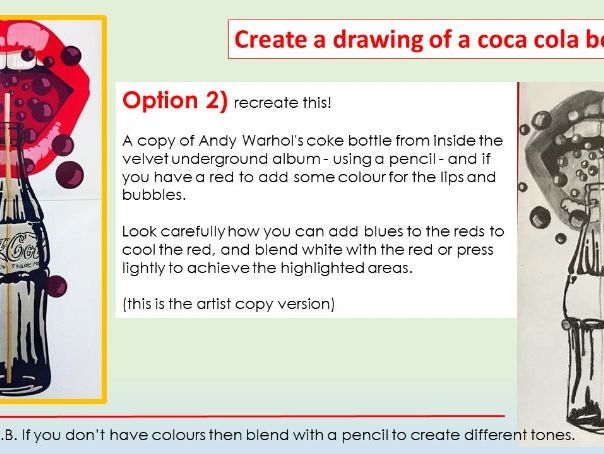 Pop art coke bottle home learning mini project.