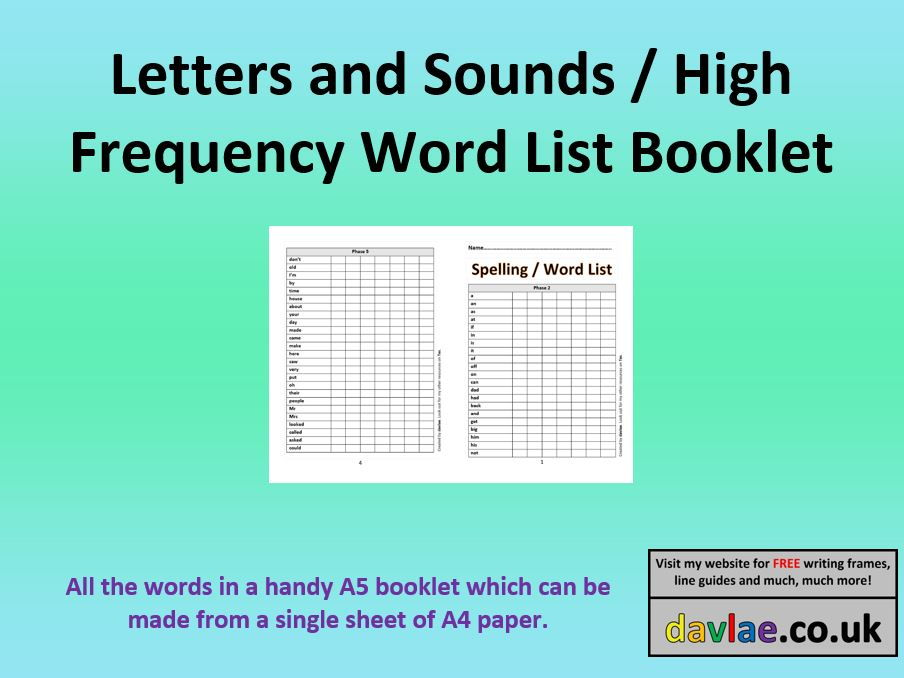 Letters and Sounds High Frequency  Words Booklet