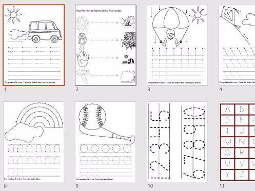 Handwriting - Line Practice - 11 worksheets -  Reception KS1