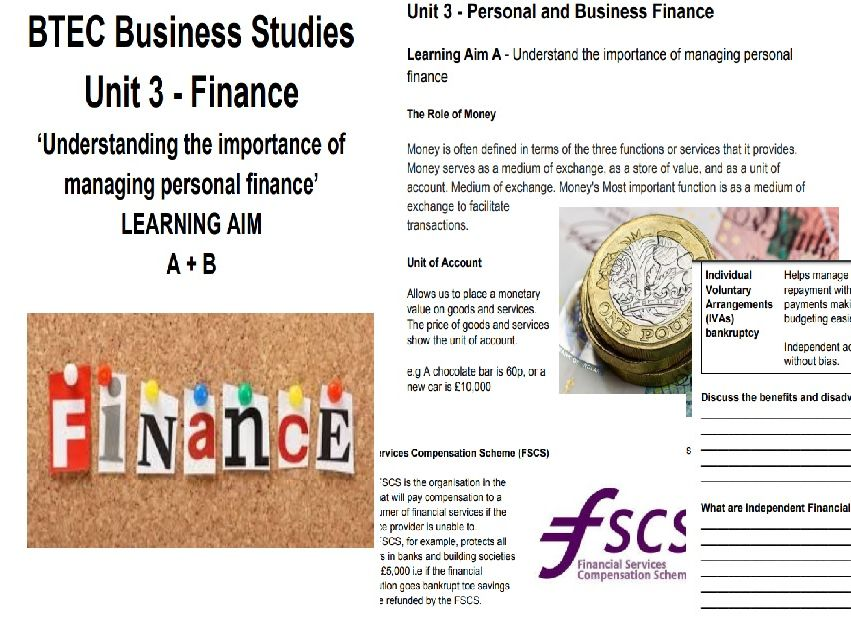 Unit 3 Personal and Business Finance Student workbook Learning Aim A + B BTEC BUSINESS LEVEL 3