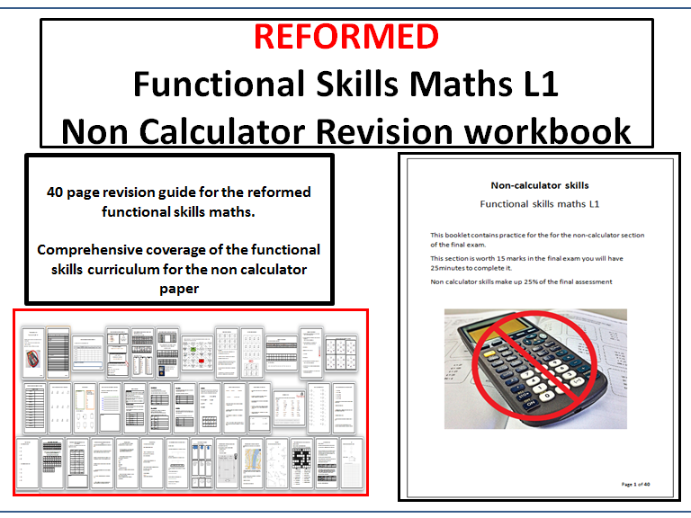 Reformed functional skills maths non calculator revision workbook L1