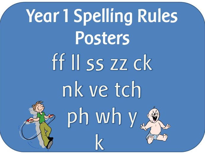 Year 1 Spelling Rules display poster pack - ff ll ss zz ck nk ve tch ph wh y k
