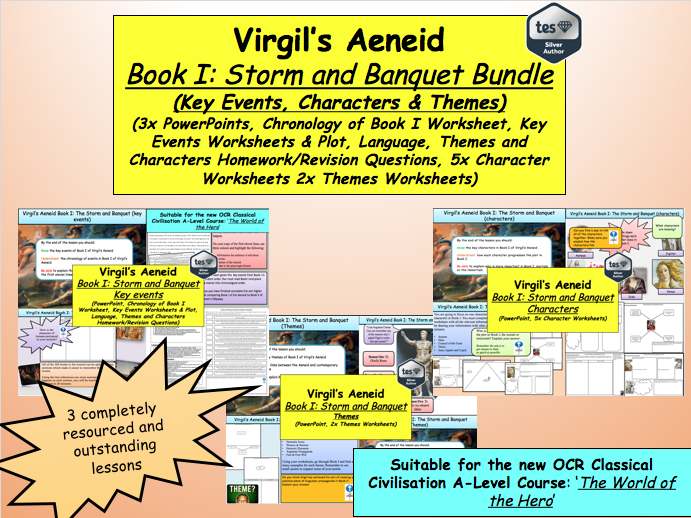 Virgil's Aeneid Book I: Storm and Banquet Bundle (3x Lessons) [New OCR A-Level: 'The World of the Hero']