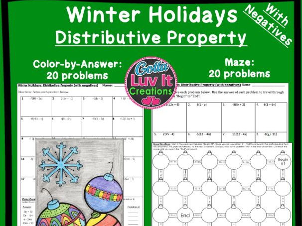 Distributive Property With Negatives Winter Bundle - Maze & Color by Number