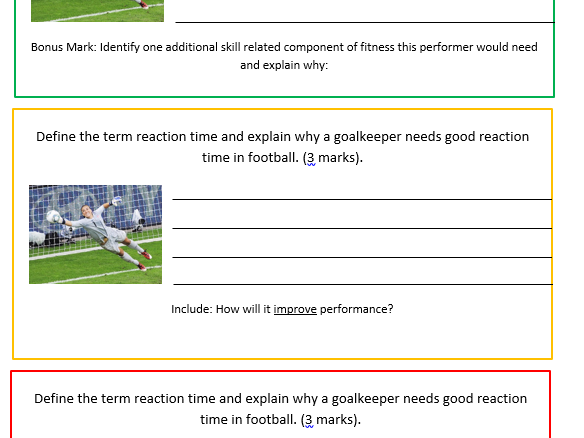 Edexcel GCSE PE - Skill Related components of fitness exam practice