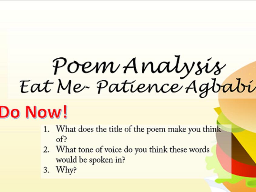 Poem Analysis - 'Eat Me' by Patience Agbabi