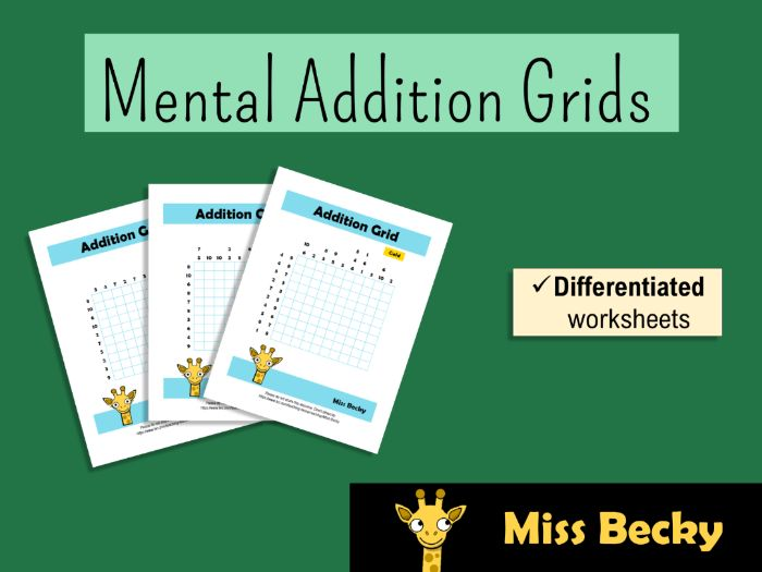 Differentiated Addition Grid Worksheets