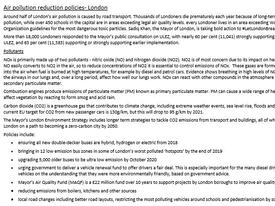 London air pollution reduction policies- A level Geography case study