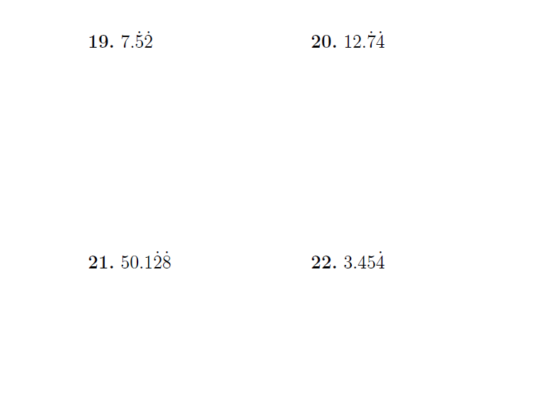 Recurring decimals  (worksheet with detailed solutions)