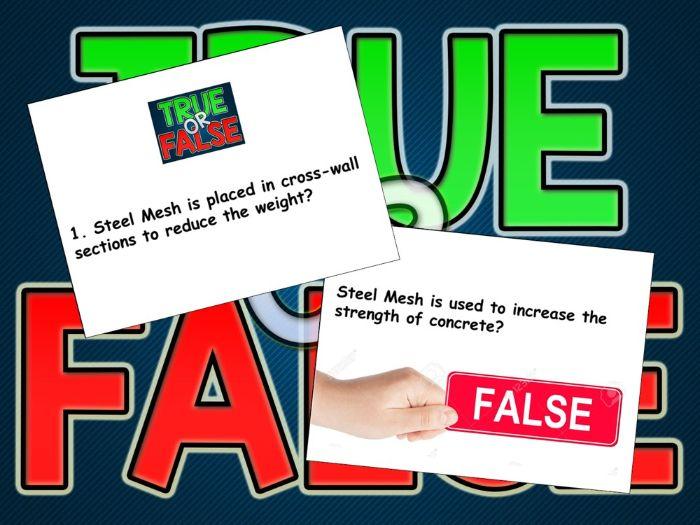 BTEC CONSTRUCTION - UNIT 1: TRUE/FALSE QUIZ