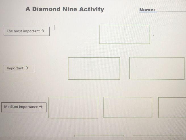 Friendship Diamond Nine Worksheet