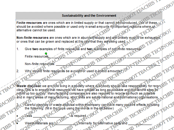 Sustainability and the environment worksheet