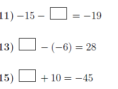Addition and subtraction of integers: Finding missing numbers worksheet no 2 (with solutions)