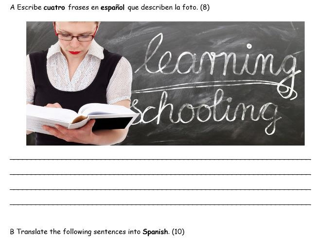 Spanish - School -  New GCSE 9-1 Writing Assessment
