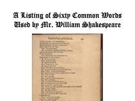 A List of Sixty Common Words Used by William Shakespeare, With Activities and Quizzes