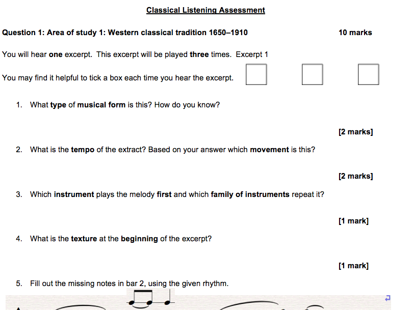 Orchestral Music Listening Assessment