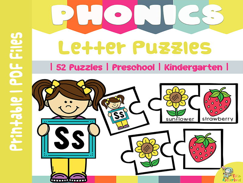 Letter Puzzles, Initial Sounds Activities, Letter Recognition [52 puzzles] TeKa Kinderland