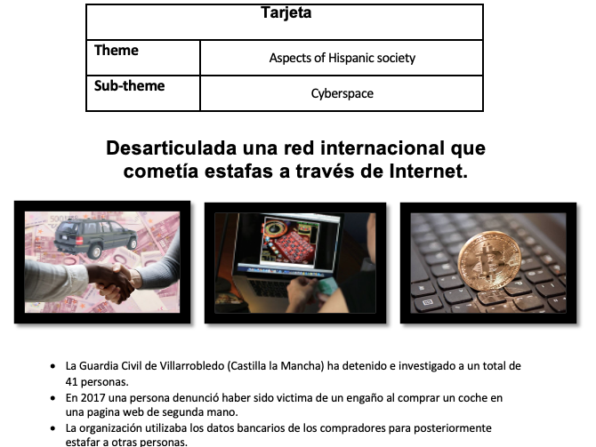 Speaking Card - Ciberespacio AQA A Level Spanish *New 2020-2021