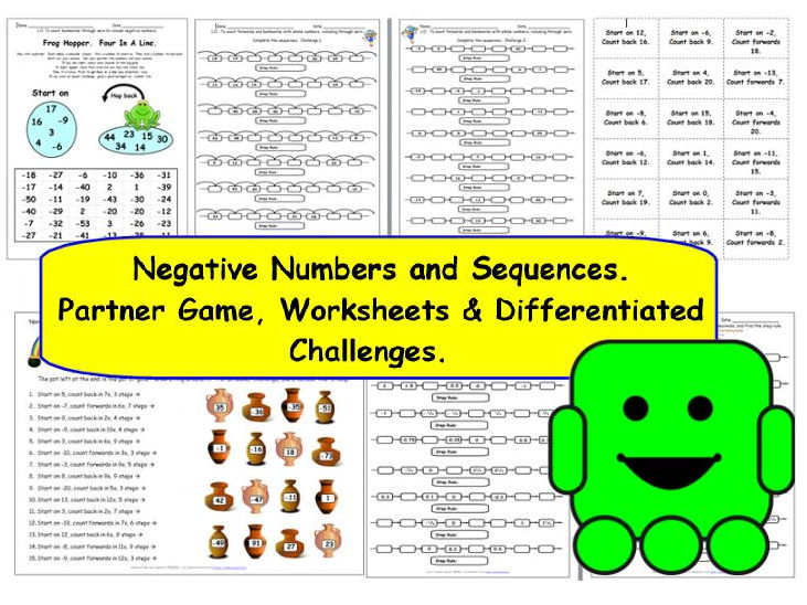 Y5 Negative Numbers and Sequences - 5 Worksheets / Activities -
