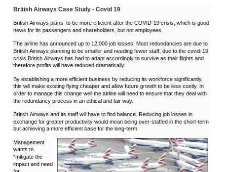 Covid 19 Coronavirus British Airways Case Study - Covid 19