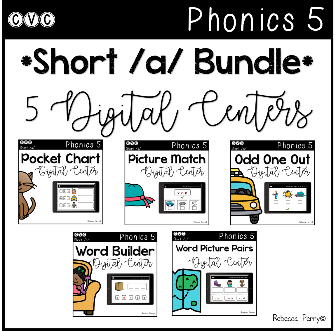 CVC Short A Bundle - 5 Digital Centers - Phonics (Google Classroom)