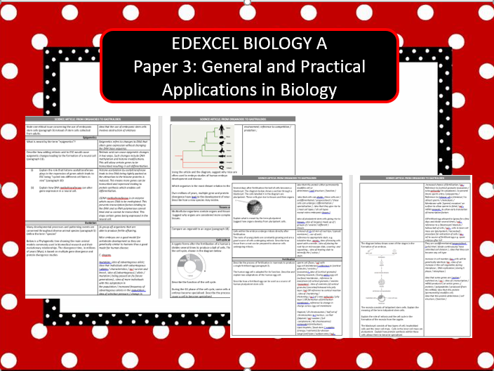 BIOLOGY A Paper 3: General and Practical Applications in Biology 2019 - From Organoids to Gastruloid
