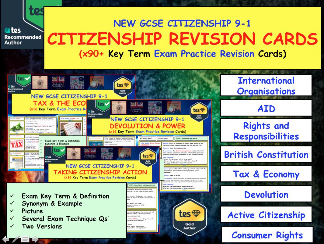 GCSE CItizenship 9-1 Revision 90+ Exam Practice key term topic cards