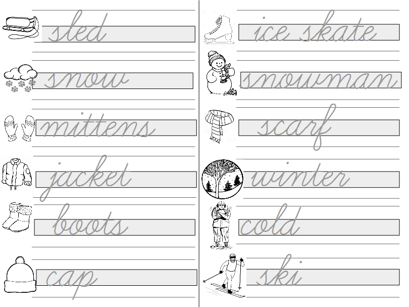 Guided Writing Practice - Winter Words - Cursive