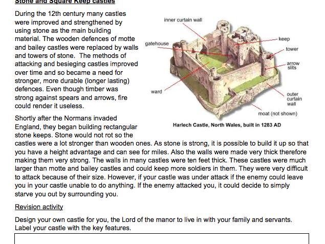 Y7 Autumn 2 homework booklet 'Medieval England 1066-1485' History KS3