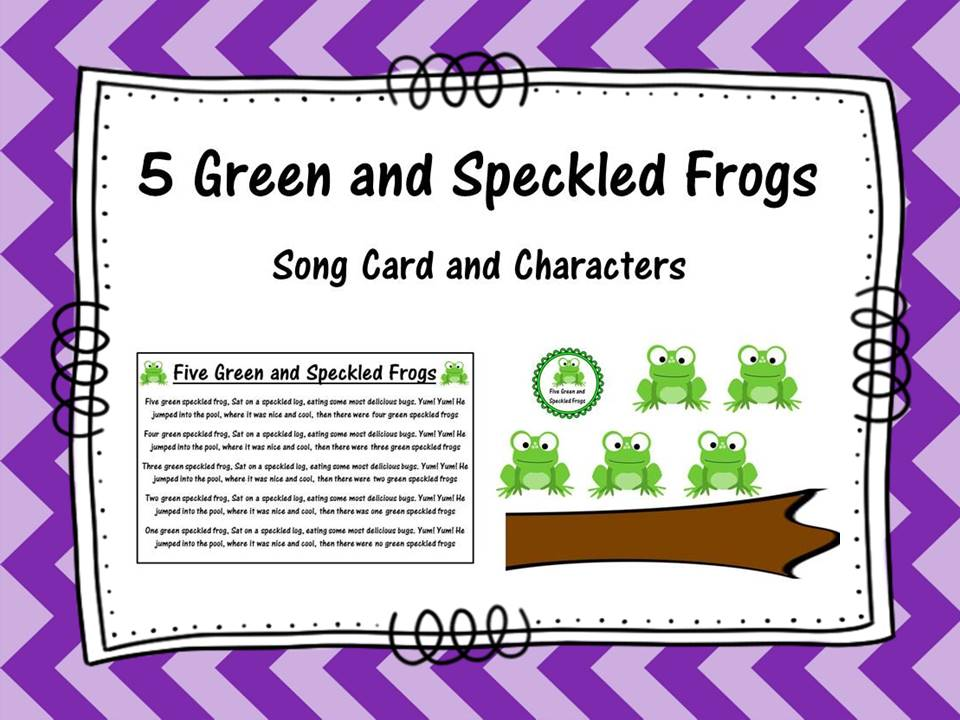 Five Green and Speckled Frog Song Card and Characters