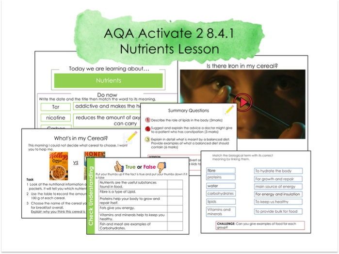 AQA Activate Nutrients 8.4.1 Kerboodle Book 2