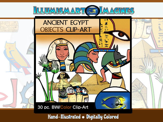 Ancient Egypt ClipArt Ancient Egypt Objects 30 pc. Clip-Art (BW and Color!) 15 BW/ 15 Color!