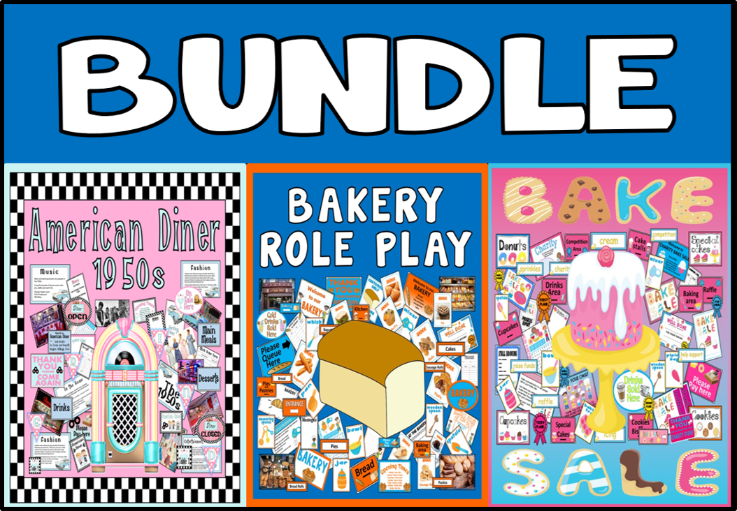 *BUNDLE - FOOD ROLE PLAY* BAKERY, CHARITY BAKE SALE, AMERICAN DINER 1950S