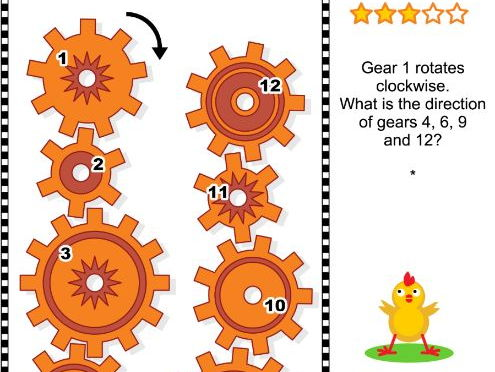 Visual Puzzle with Rotating Gears
