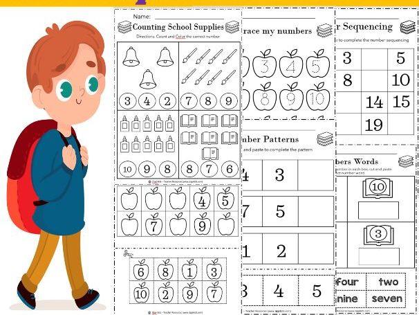 Back to School NO PREP Math Packet (Kindergarten and Preschool) - 86 Printable