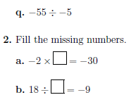 Multiplying and dividing positive and negative numbers worksheet no 2 (with solutions)