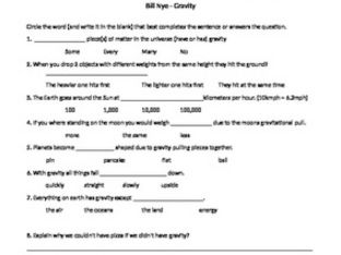 Bill Nye Video follow along sheet Gravity