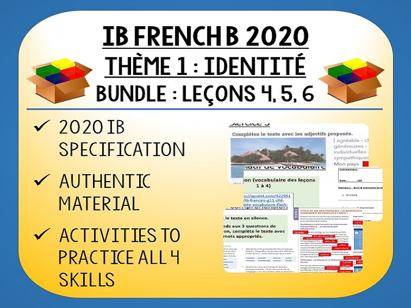 IB FRENCH B 2020 - Identité - L4-6 lessons pack