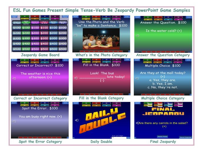 Present Simple Tense-Verb Be Jeopardy PowerPoint Game