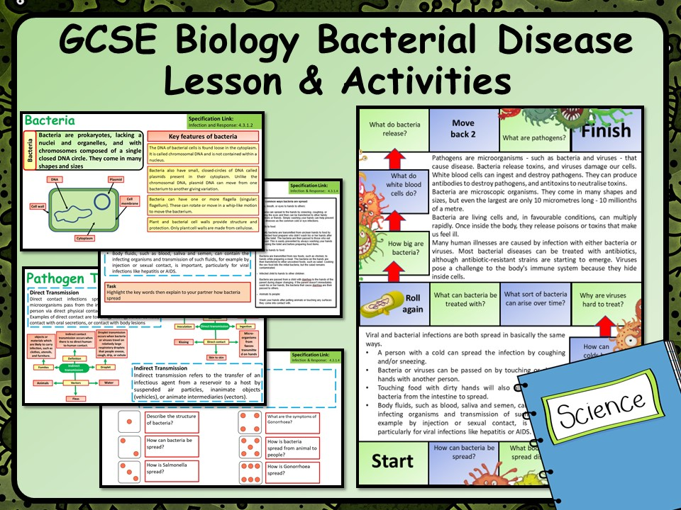 KS4 AQA GCSE Biology (Science) Bacterial Disease Lesson & Activities