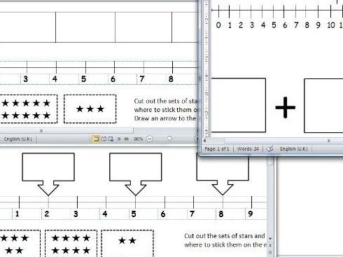 set of simple number lines tasks