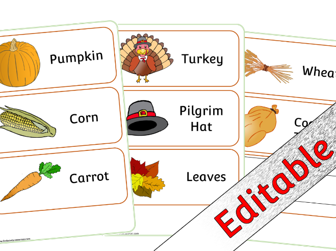 Thanksgiving Word Mat and Word Cards Pack - Editable