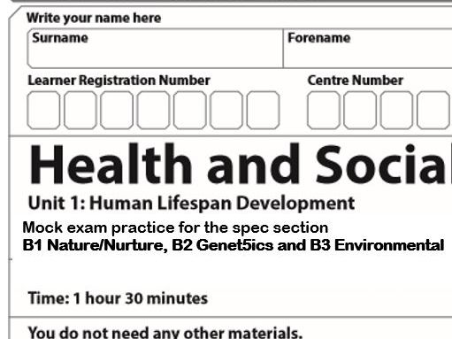BTEC Level 3 Health & Social Care Unit 1 Human Lifespan Development Learning Aim B exam papers