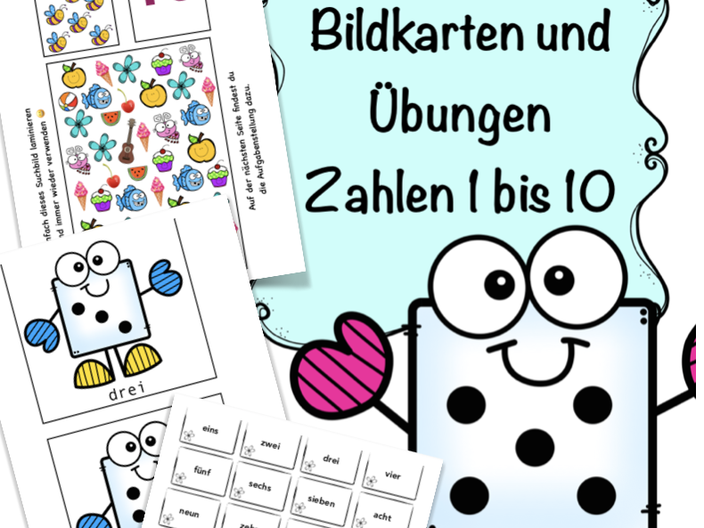 Bildkarten, Würfel Zahlen 1 - 10, German numbers game + worksheet, Mathematik, Grundschule Deutsch