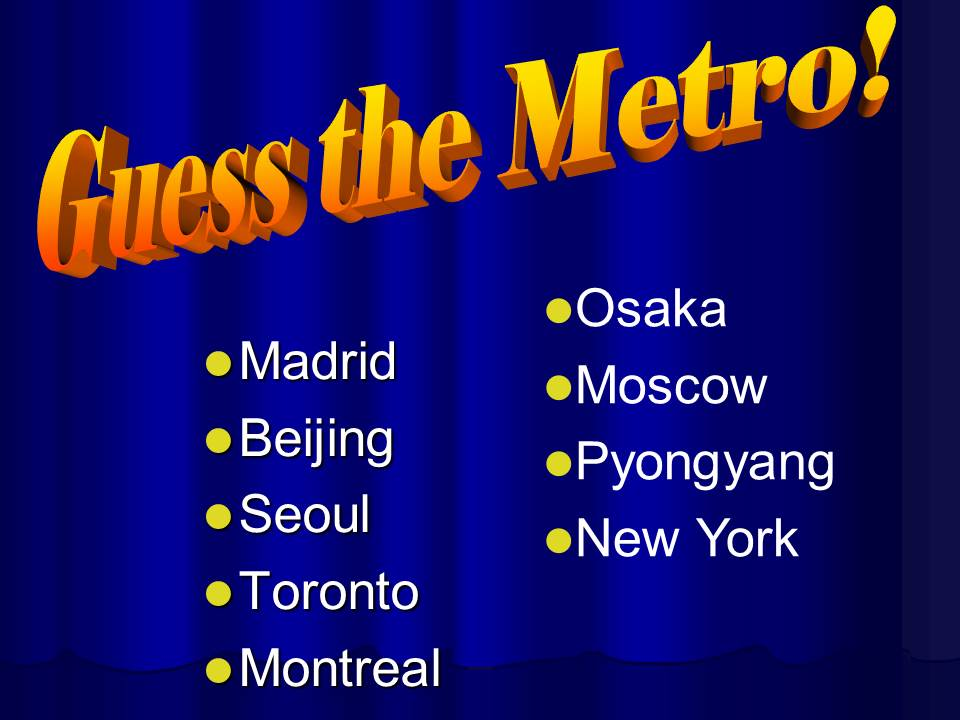 Metro systems of the world