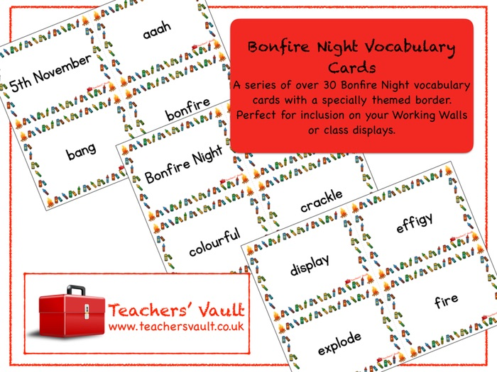Bonfire Night Vocabulary Cards