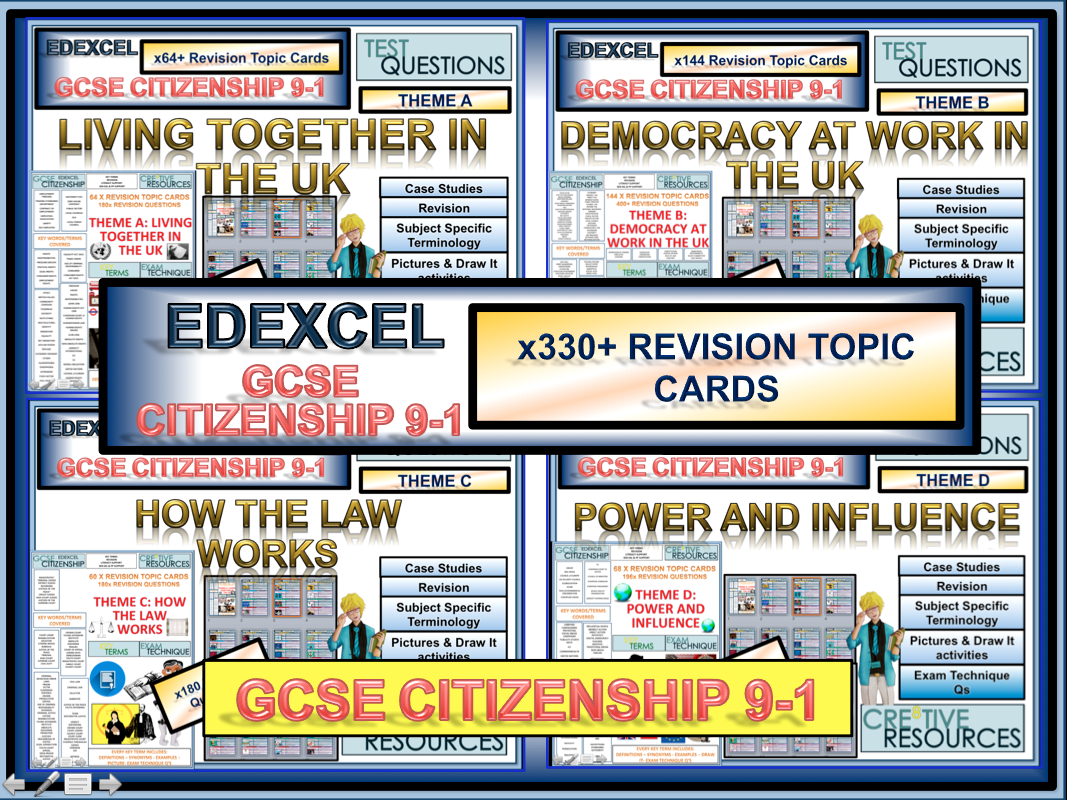 Full Citizenship GCSE 9-1 Revision 330+ Revision topic Cards EDEXCEL